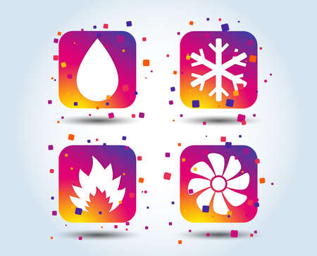 HVAC icons. Heating, ventilating and air conditioning symbols. Water supply. Climate control technology signs. Colour gradient square buttons. Flat design concept. Vector Ilustracja