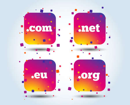 Top-level internet domain icons. Com, Eu, Net and Org symbols. Unique DNS names. Colour gradient square buttons. Flat design concept. Vector