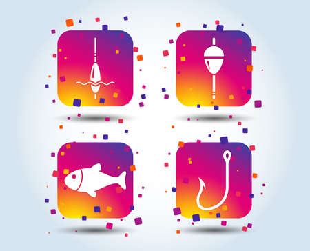 Fishing icons. Fish with fishermen hook sign. Float bobber symbol. Colour gradient square buttons. Flat design concept. Vector Illustration