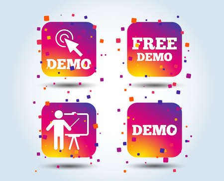 Demo with cursor icon. Presentation billboard sign. Man standing with pointer symbol. Colour gradient square buttons. Flat design concept. Vector 일러스트