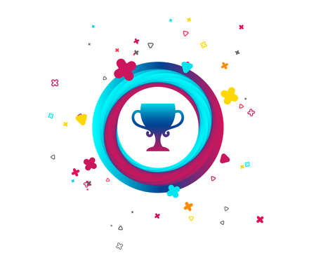 Winner cup sign icon. Awarding of winners symbol. Trophy. Colorful button with icon. Geometric elements. Vector Иллюстрация