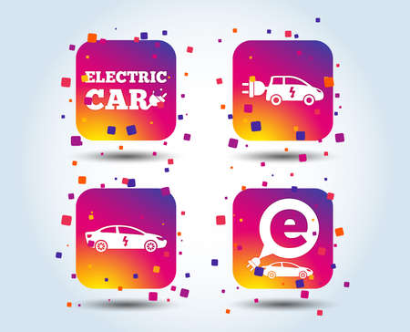 Electric car icons. Sedan and Hatchback transport symbols. Eco fuel vehicles signs. Colour gradient square buttons. Flat design concept. Vector