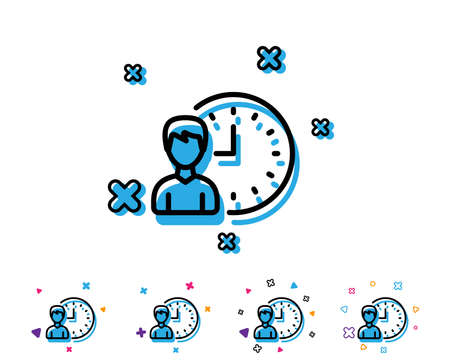 Business project deadline line icon. Working hours or Time management sign. Line icon with geometric elements. Bright colourful design. Vector