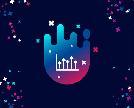 Growth chart simple icon. Financial graph sign. Upper Arrows symbol. Business investment. Cool banner with icon. Abstract shape with gradient. Vector  イラスト・ベクター素材