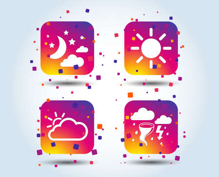 Weather icons. Moon and stars night. Cloud and sun signs. Storm or thunderstorm with lightning symbol. Colour gradient square buttons. Flat design concept. Vector Illusztráció