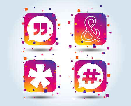 Quote, asterisk footnote icons. Hashtag social media and ampersand symbols. Programming logical operator AND sign. Speech bubble. Colour gradient square buttons. Flat design concept. Vector