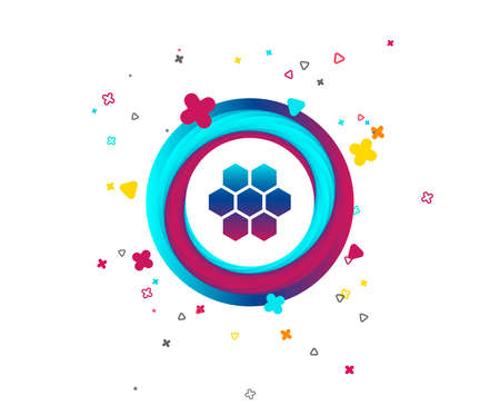 Honeycomb sign icon. Honey cells symbol. Sweet natural food. Colorful button with icon. Geometric elements. Vector