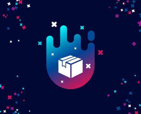 Shipping box simple icon. Logistics delivery sign. Parcels tracking symbol. Cool banner with icon. Abstract shape with gradient. Vector Illustration