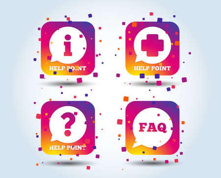 Help point icons. Question and information symbols. FAQ speech bubble signs. Colour gradient square buttons. Flat design concept. Vector