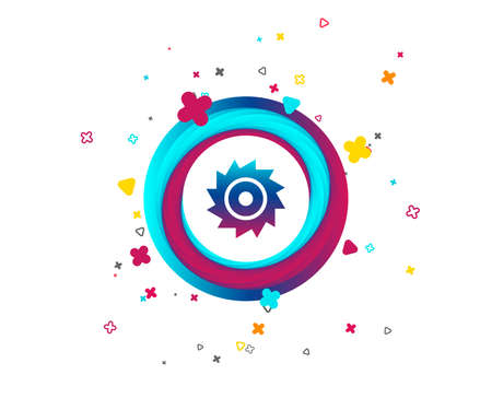 Saw circular wheel sign icon. Cutting blade symbol. Colorful button with icon. Geometric elements. Vector