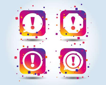 Attention icons. Exclamation speech bubble symbols. Caution signs. Colour gradient square buttons. Flat design concept. Vector
