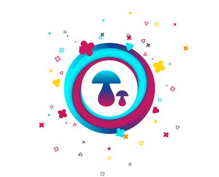 Mushroom sign icon. Boletus mushroom symbol. Colorful button with icon. Geometric elements. Vector