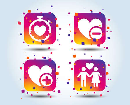 Valentine day love icons. Love heart timer symbol. Couple lovers sign. Add new love relationship. Colour gradient square buttons. Flat design concept. Vector Illustration