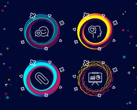 Set of Dating, Paper clip and Romantic talk icons. Presentation sign. Love messenger, Attach paperclip, Love chat. Board with charts.  Circle banners with line icons. Gradient colors shapes. Vector Çizim