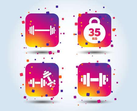 Dumbbells sign icons. Fitness sport symbols. Gym workout equipment. Colour gradient square buttons. Flat design concept. Vector