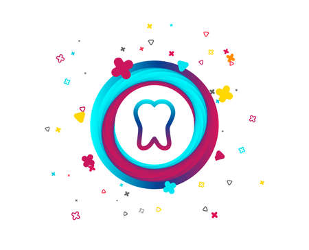 Tooth sign icon. Dental care symbol. Colorful button with icon. Geometric elements. Vector