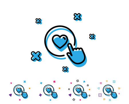 Click like line icon. Love button symbol. Valentines day sign. Line icon with geometric elements. Bright colourful design. Vector