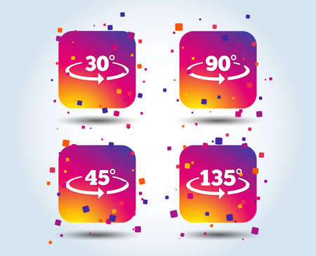 Angle 30-135 degrees icons. Geometry math signs symbols. Full complete rotation arrow. Colour gradient square buttons. Flat design concept. Vector Illustration
