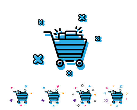 Shopping cart line icon. Sale Marketing symbol. Special offer sign. Line icon with geometric elements. Bright colourful design. Vector