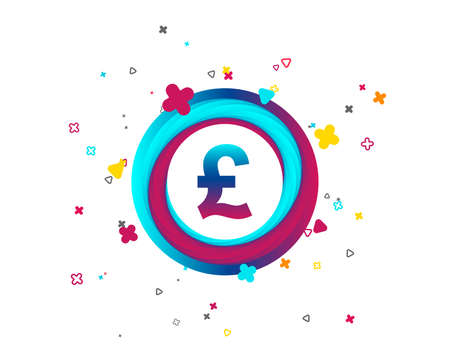 Pound sign icon. GBP currency symbol. Money label. Colorful button with icon. Geometric elements. Vector