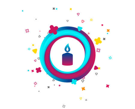 Candle sign icon. Fire symbol. Colorful button with icon. Geometric elements. Vector Banco de Imagens - 105630866