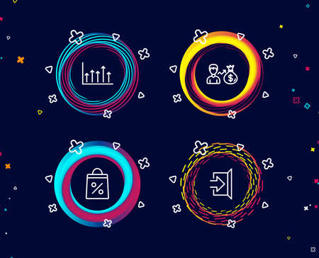 Set of Shopping bag, Sallary and Growth chart icons. Exit sign. Supermarket discounts, Person earnings, Upper arrows. Escape.  Circle banners with line icons. Gradient colors shapes. Vector Banque d'images - 105630867