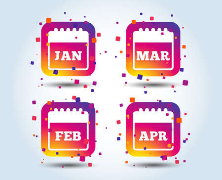 Calendar icons. January, February, March and April month symbols. Date or event reminder sign. Colour gradient square buttons. Flat design concept. Vector