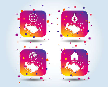Handshake icons. World, Smile happy face and house building symbol. Dollar cash money bag. Amicable agreement. Colour gradient square buttons. Flat design concept. Vector
