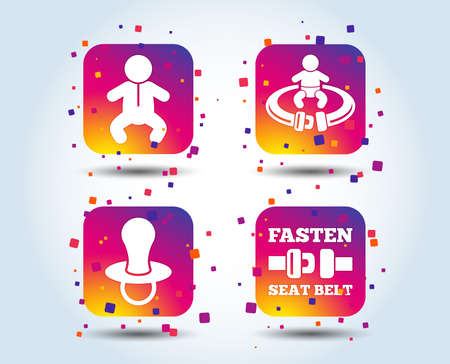 Baby infants icons. Toddler boy with diapers symbol. Fasten seat belt signs. Child pacifier and pram stroller. Colour gradient square buttons. Flat design concept. Vector