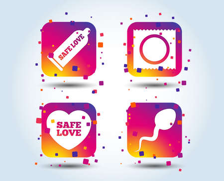 Safe sex love icons. Condom and package symbol. Sperm sign. Fertilization or insemination. Colour gradient square buttons. Flat design concept. Vector