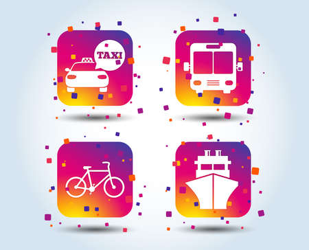 Transport icons. Taxi car, Bicycle, Public bus and Ship signs. Shipping delivery symbol. Speech bubble sign. Colour gradient square buttons. Flat design concept. Vector Illustration