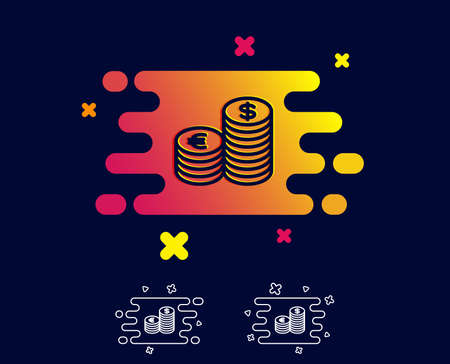 Coins money line icon. Banking currency sign. Euro and Dollar Cash symbols. Gradient banner with line icon. Abstract shape. Vector