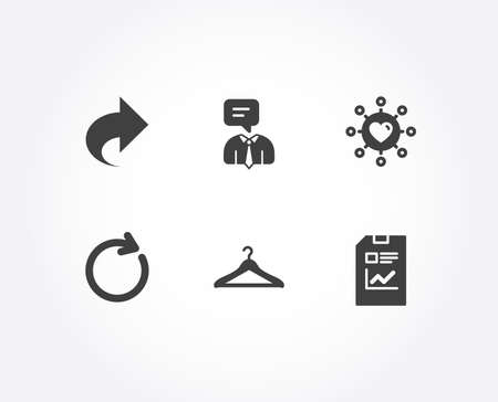 Set of Synchronize, Cloakroom and Share icons. Support service, Dating network and Report document signs. Refresh or update, Hanger wardrobe, Link. Vector Ilustracja