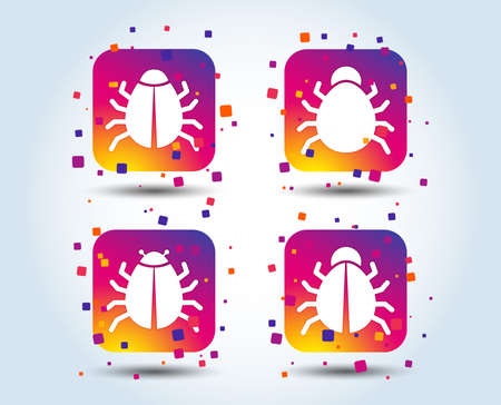 Bugs vaccination icons. Virus software error sign symbols. Colour gradient square buttons. Flat design concept. Vector