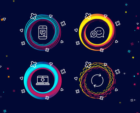 Set of Message, Internet downloading and Dating icons. Full rotation sign. Phone messenger, Load data, Love messenger. Refresh or reload.  Circle banners with line icons. Gradient colors shapes Ilustração