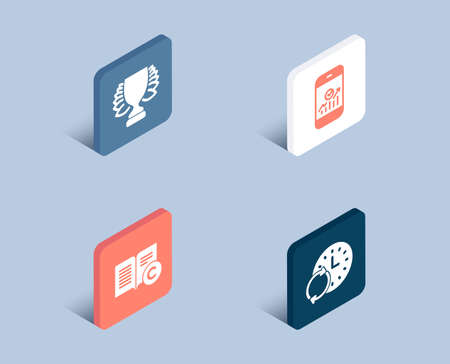 Set of Winner, Ð¡opyright and Smartphone statistics icons. Update time sign. Sports achievement, Copywriting book, Mobile business. Refresh clock.  3d isometric buttons. Flat design concept. Vector Illusztráció