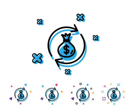 Cash exchange line icon. Dollar money bag symbol. Money transfer sign. Line icon with geometric elements. Bright colourful design. Vector Ilustracja