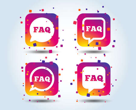 FAQ information icons. Help speech bubbles symbols. Circle and square talk signs. Colour gradient square buttons. Flat design concept. Vector