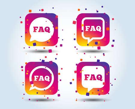 FAQ-Informationssymbole. Hilfe Sprechblasensymbole. Kreis- und Quadratgesprächszeichen. Quadratische Schaltflächen mit Farbverlauf. Flaches Designkonzept. Vektor Vektorgrafik