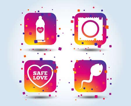 Safe sex love icons. Condom in package symbol. Sperm sign. Fertilization or insemination. Colour gradient square buttons. Flat design concept. Vector Illustration