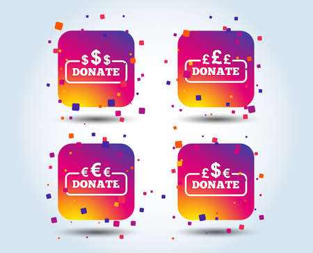 Donate money icons. Dollar, euro and pounds symbols. Multicurrency signs. Colour gradient square buttons. Flat design concept. Vector