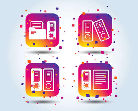 Accounting icons. Document storage in folders sign symbols. Colour gradient square buttons. Flat design concept. Vector