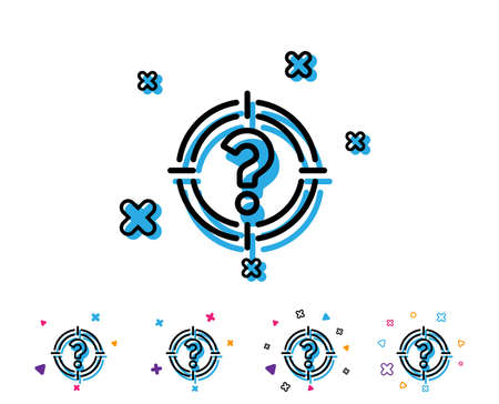 Target with Question mark line icon. Aim symbol. Help or FAQ sign. Line icon with geometric elements. Bright colourful design. Vector