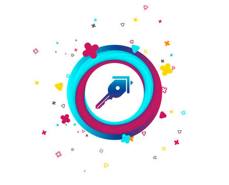 Key from the house sign icon. Unlock tool symbol. Colorful button with icon. Geometric elements. Vector Illustration