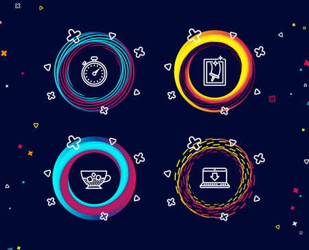 Set of Cold coffee, Timer and Window cleaning icons. Internet downloading sign. Ice cubes in beverage, Stopwatch gadget, Housekeeping service. Load data.  Circle banners with line icons. Vector Ilustracja