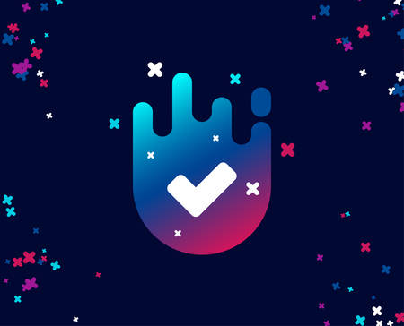 Check simple icon. Approved Tick sign. Confirm, Done or Accept symbol. Cool banner with icon. Abstract shape with gradient. Vector Illustration