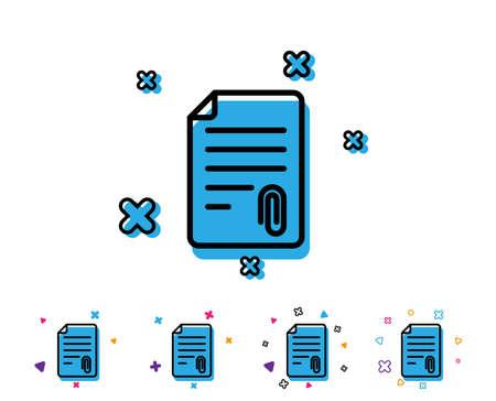 Icône de ligne de pièce jointe CV. Symbole de fichier de document. Icône de la ligne avec des éléments géométriques. Conception colorée lumineuse. Vecteur