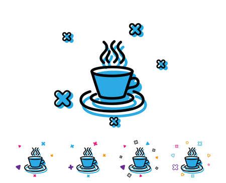 Tea or Coffee line icon. Hot drink sign. Fresh beverage symbol. Line icon with geometric elements. Bright colourful design. Vector Ilustração