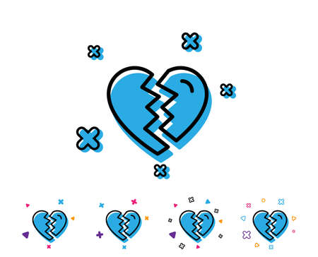 Break up Love line icon. Divorce sign. Valentines day symbol. Line icon with geometric elements. Bright colourful design. Vector