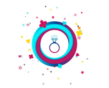 Ring sign icon. Jewelry with shine diamond symbol. Wedding or engagement day symbol. Colorful button with icon. Geometric elements. Vector Illustration